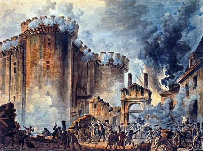 Prise de la Bastille by   Jean-Pierre Houël Source:Wikipedia